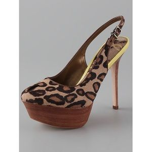 Sam Edelman Leopard Print Calf Hair Platform Pumps